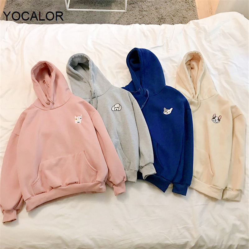 Yocalor Cartoon Dog Embroidery Women Sweatshirt Pockets Full Sleeve Female Pullovers Casual Thick Hoodies Female Tracksuit 2020