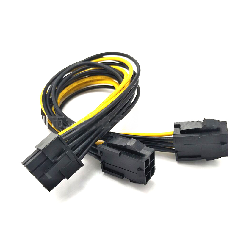20cm PCIe Graphics Cards Power Cable Dual 6 Pin Female To Single 8 Pin Male for Dual Video Cards System