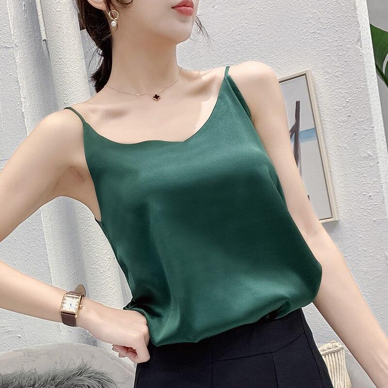 Korean Silk Top Women V-neck Satin Tank Tops Woman Sleeveless Black Tees Cami Sexy Halter Top Plus Size Elegant Women White Tops