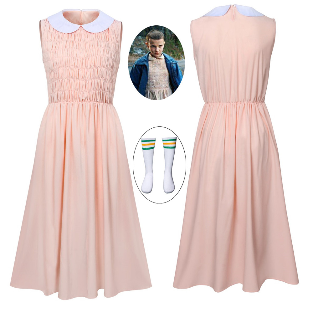 Eleven's Sleeveless Pink Dress For Stranger Things Women Girl Evening Party Dress Halloween Cosplay Costume