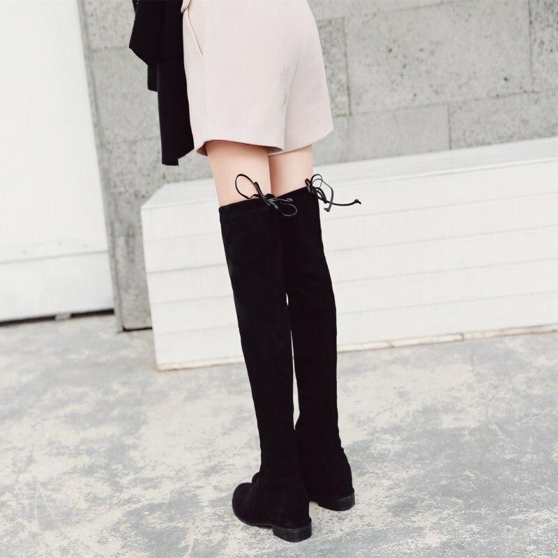 Over the diz çizmeler kadın zayıflama streç çizmeler yüksek topuklu çizmeler tıknaz topuk hortum çizmeler Sw5050 çizmeler 2018 sonbahar ve kış title=