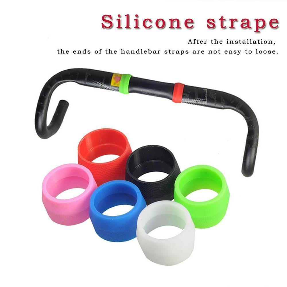 1 Pair Cycling Bike Silicone Plug Bicycle Anti-Slip Silicone Handlebar Tape Buckle Sleeve Fixed Ring Bike Accessories 6 Color