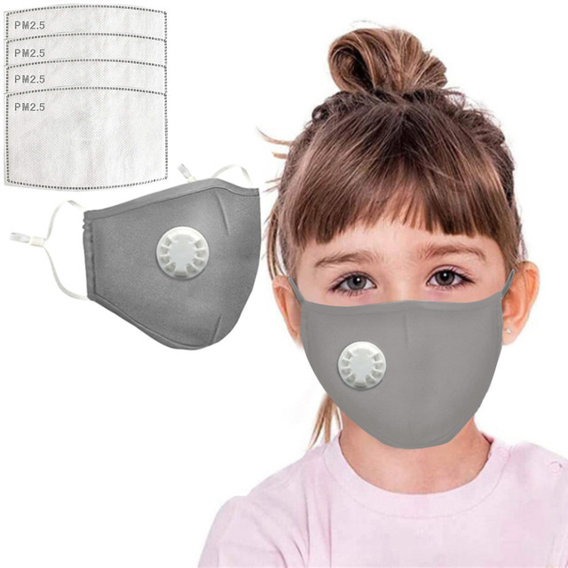 4 PCS Filter Fashion Kids Mask Mouth Respirator Washable Reusable Child Masks Cotton Unisex Mouth Muffle Black Anti Flu Mask 2