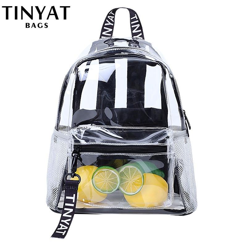 TINYAT Clear PVC Women Backpack Transparent Fashion Solid Backpack Travel School Backpack Bag For Teenage Girls Mochila Visual