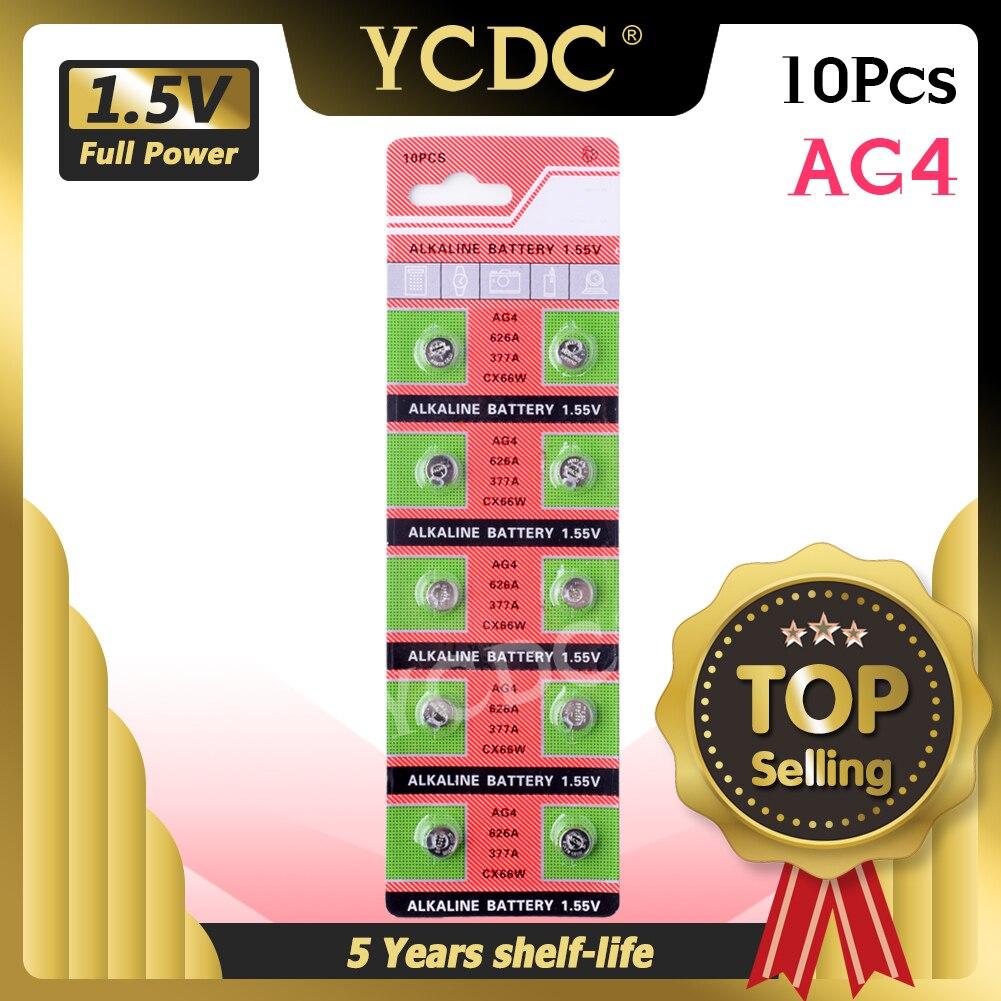 YCDC оптовая продажа 10 шт./лот = 1 карты AG4 377A 377 LR626 SR626SW SR66 LR66 батарея монетного типа для часов, батарея TIANQIUBrand