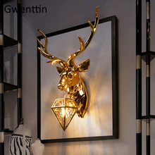 Vintage Gold Deer Wall Lamps Antlers Led Wall Light Fixtures Loft Industrial Home Decor Bedroom Bedside Lamp Sconce Luminaire