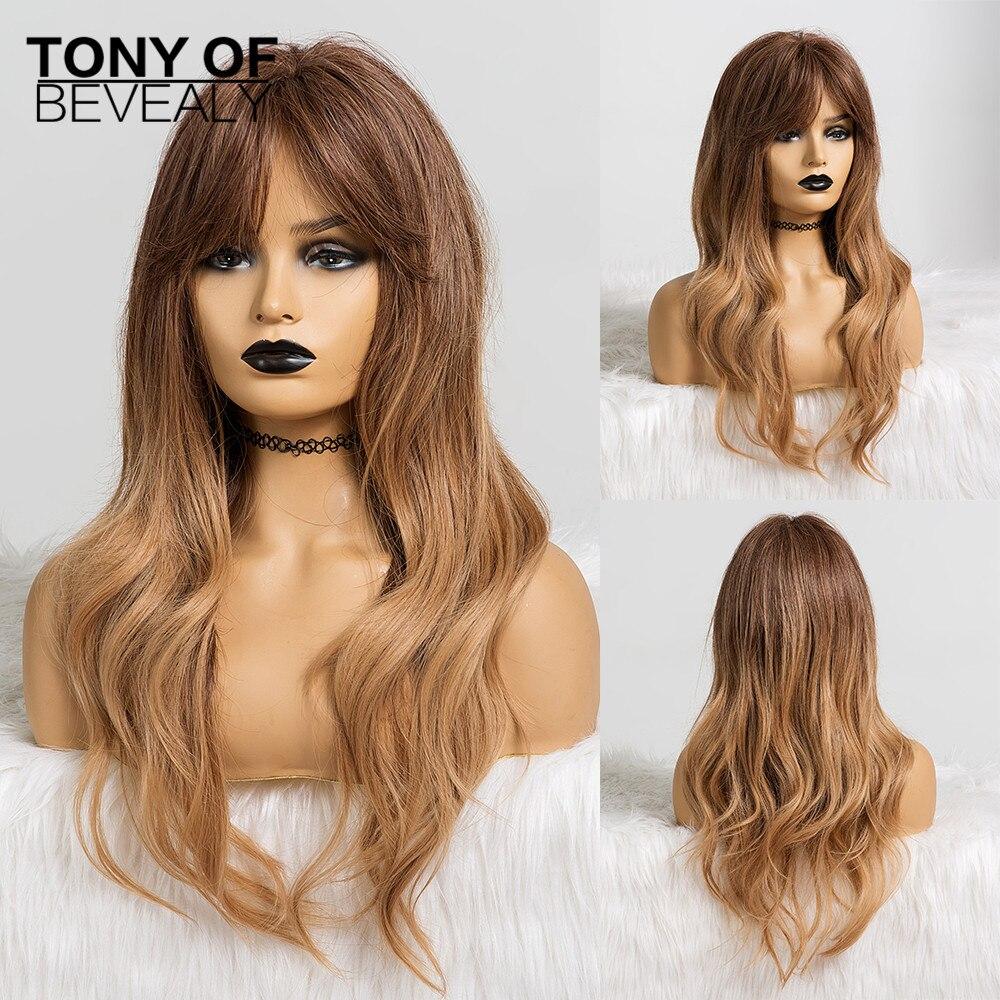 Длинные Волнистые Ombre коричневые синтетические парики с челкой для женщин черные женские Afo натуральные волосы парики термостойкие