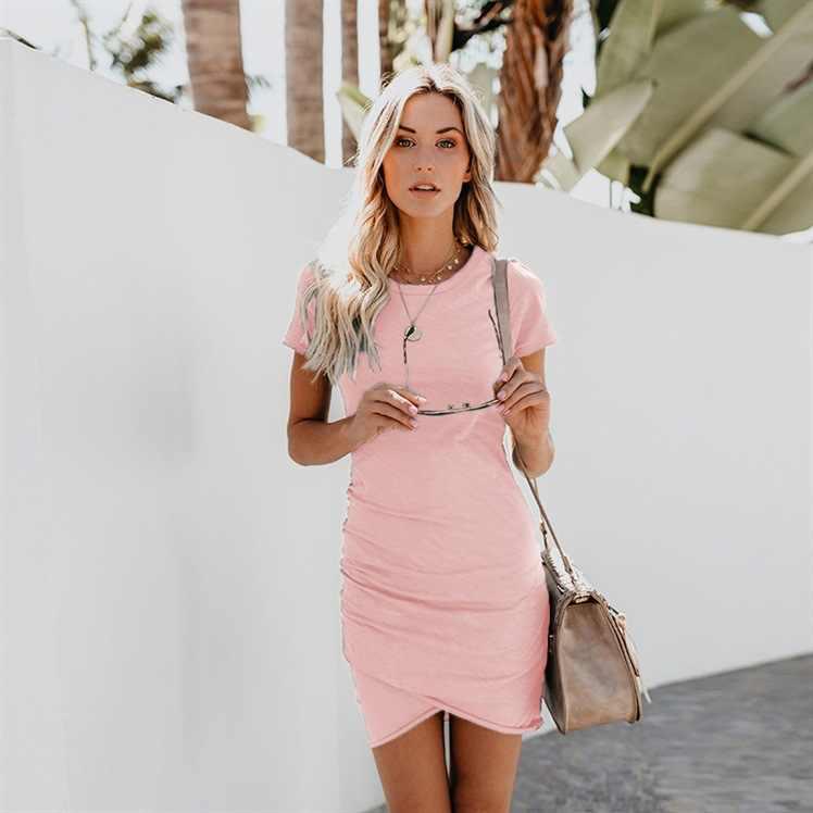 2020 Womens Dresses 10 색 섹시한 여성 의류 Crew Neck Sheath 불규칙한 여성용 드레스 Short Sleeve Women Dress Summer