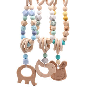 Baby Toy Wooden 1PC Pushchair Pacifier-Chain String-Links Chewable-Bracelet Clip-On Beadsdummy-Clip