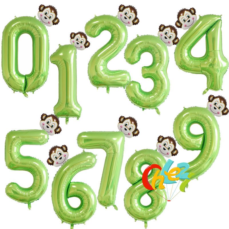 Green Colour Number Balloons