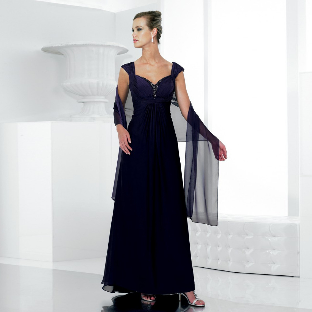 SL-3987 New Arrival Sweetheart Long Chiffon Mother Of The Bride Dresses Cap Sleeve 2015 Evening Formal Dress