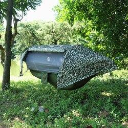 Multi-funcional de la red de insectos impermeable resistente al viento, ultraligero paracaídas hamaca aérea tienda portátil al aire libre Camping 270x140cm