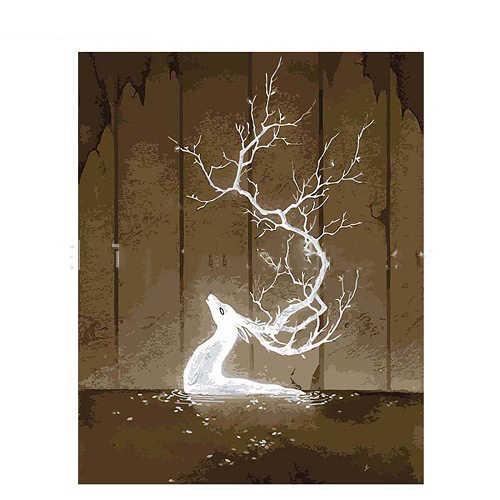 Meivn Diy Abstract Art Fantasy Pure White Elf Herten Olieverf Door Getallen Kits Acryl Verf Canvas Accessoires Woondecoratie