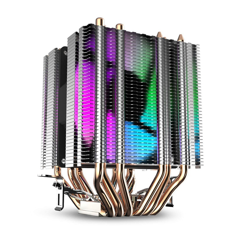 Cpu Air Cooler 6 Heat Pipes Twin-Tower Heatsink With 90Mm Rainbow Led Fans For Intel 775/1150/1155/1156/1366 image