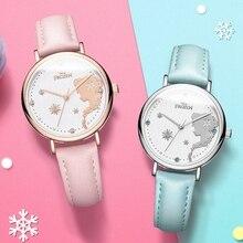 Disney Frozen relojes de lujo de la serie de princesa Elsa Snow para niños, relojes de cuarzo para chicas