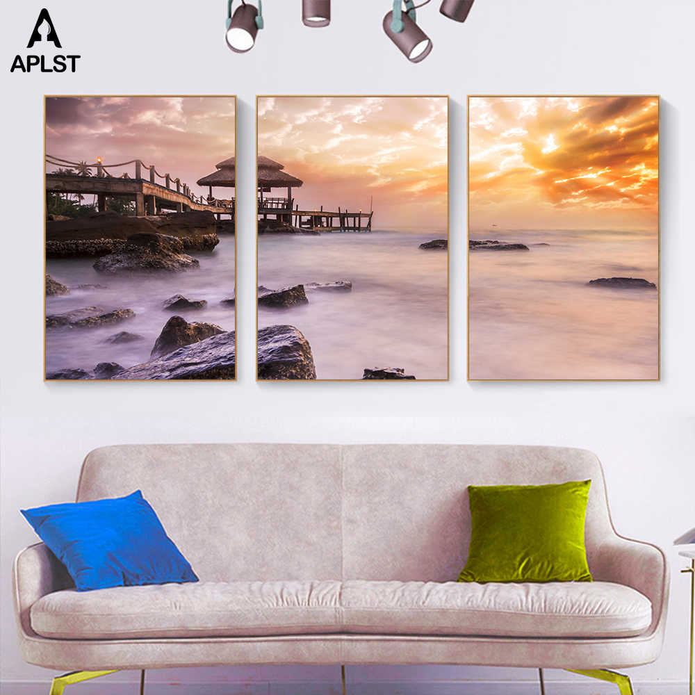 Canvas Painting Posters Sunrise Seaside Path Prints Landscape Home Decor Colorful Clouds Wall Art Ocean Pictures for Living Room