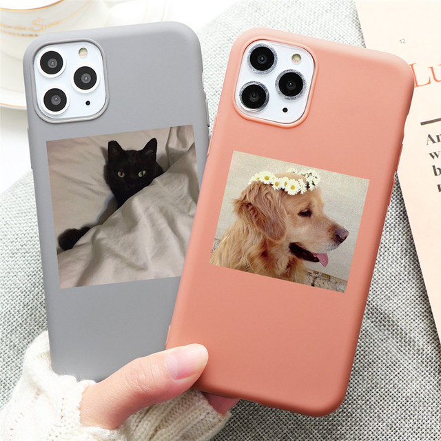 Cute Cat Dog Animals Case For iPhone 7 8 6 6s Plus 5 5S SE 2020 Candy Color Soft Cover For iPhone 12 11 Pro XS Max XR X TPU Case 2