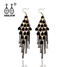 DREJEW Black Square Crystal Beads Tassel Statement Earrings Sets 925 Gold Silver Drop for Women Wedding Jewelry HE5721