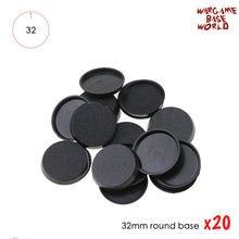 20 bases redondas dos pces 32mm para a base plástica das miniaturas dos jogos e dos jogos