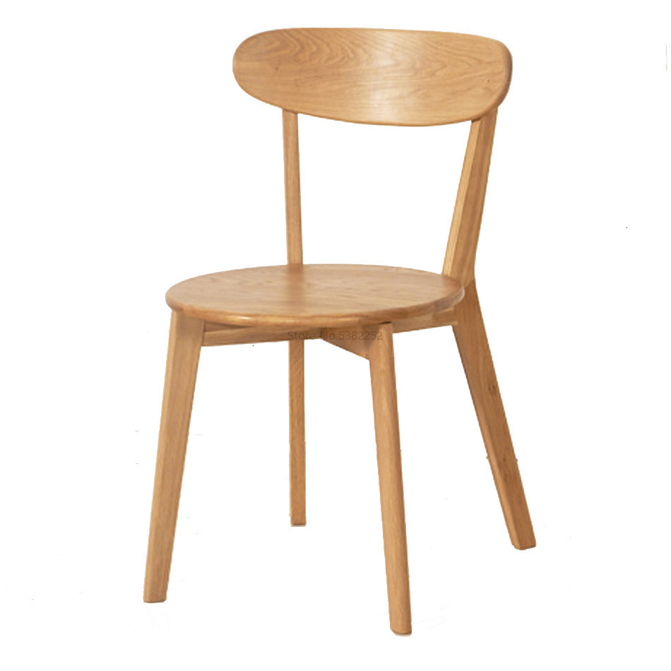 Solid Wood Dining Chair, Oak Stool, Log Milk Tea Chair, Dining Room, Leisure Office, Backrest, Cow Horn Chair