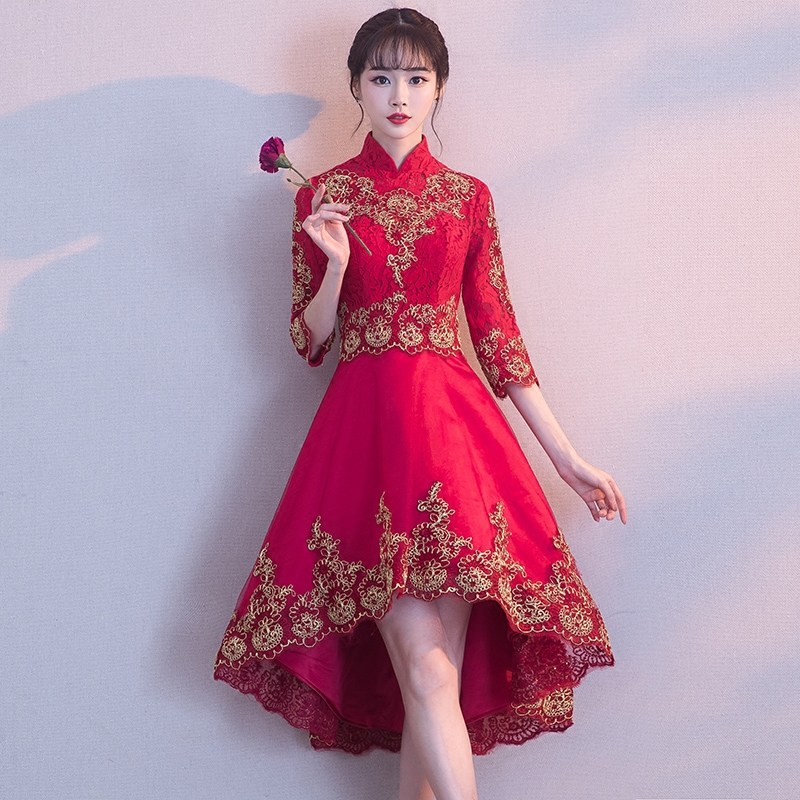 Chinese Style Bride Dress For Toast Red 2019 New Style Chinese-style Stand Collar Evening Gown Women's Front Short Long Back Ele