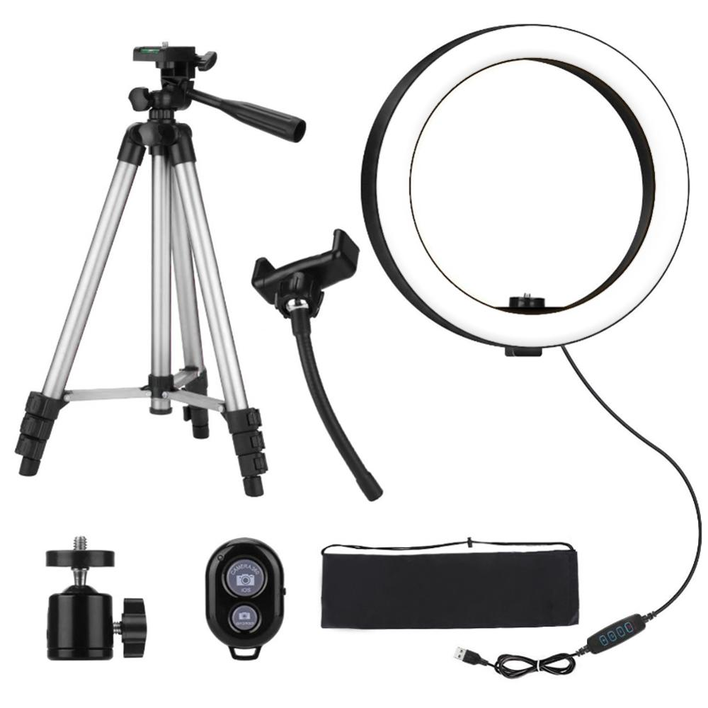 Photography LED Selfie Cold Warm Lighting Dimmable LED Ring Light Phone Video Light Lamp With Tripod Ring Fill Light