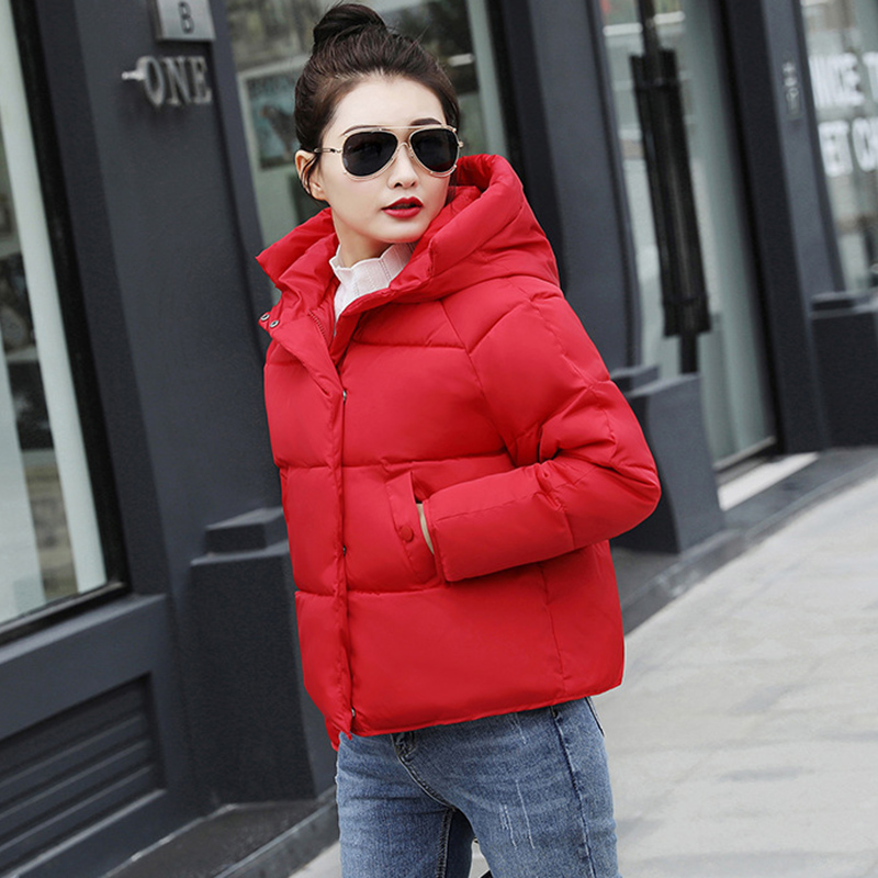 Women Short Puffer Jacket 2019 Autumn Winter Female Hooded Coats Warm Down Cotton-padded Sustans Ladies Bomber Jackets Red Black