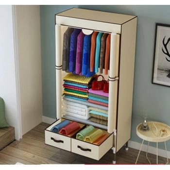 Non-Woven Fabrics Wardrobe Coffee Fabric Closet Portable Folding Dust-proof Waterproof Storage Cabinet Bedroom Home Furniture simple fashion wardrobe non woven fabric steel frame reinforcement standing storage organizer clothes cabinet bedroom furniture