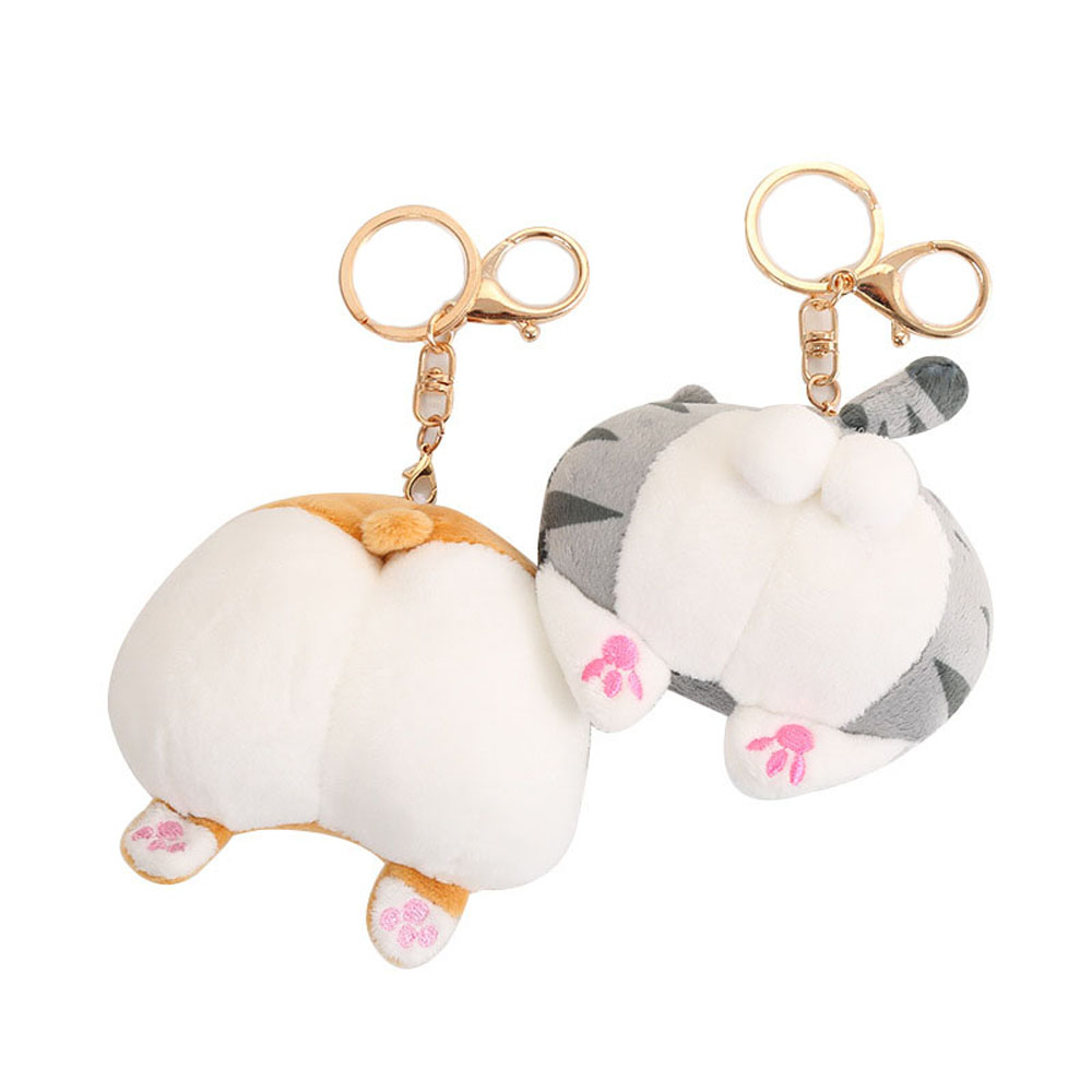 Funny Corgi Cat Butt Mini Plush Toys Cartoon Stuffed Animals Doll Keychain Lovely Toys For Children