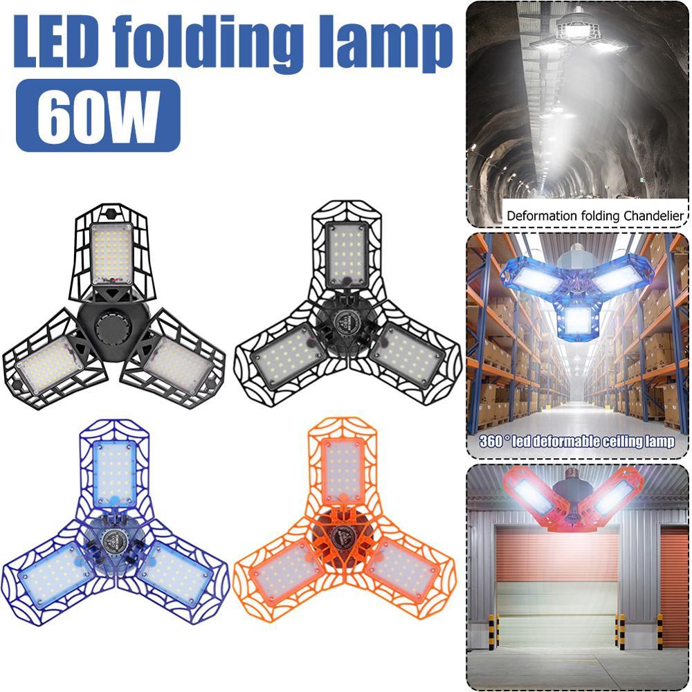 60W Super Bright Industrial Lighting E27 LED Light Bulb Folding Industrial Lamp Workshop Garage Light Pendant Lamp Floodlight