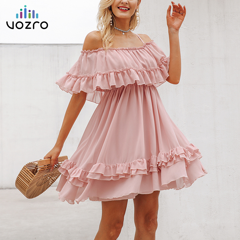 VOZRO <font><b>Elegant</b></font> Ruffle Off Shoulder <font><b>Women</b></font> <font><b>Sexy</b></font> Party Autumn <font><b>Lace</b></font> <font><b>Dress</b></font> Pink Short Sundress Vestido <font><b>Dresses</b></font> Clothes Befree Vintage image