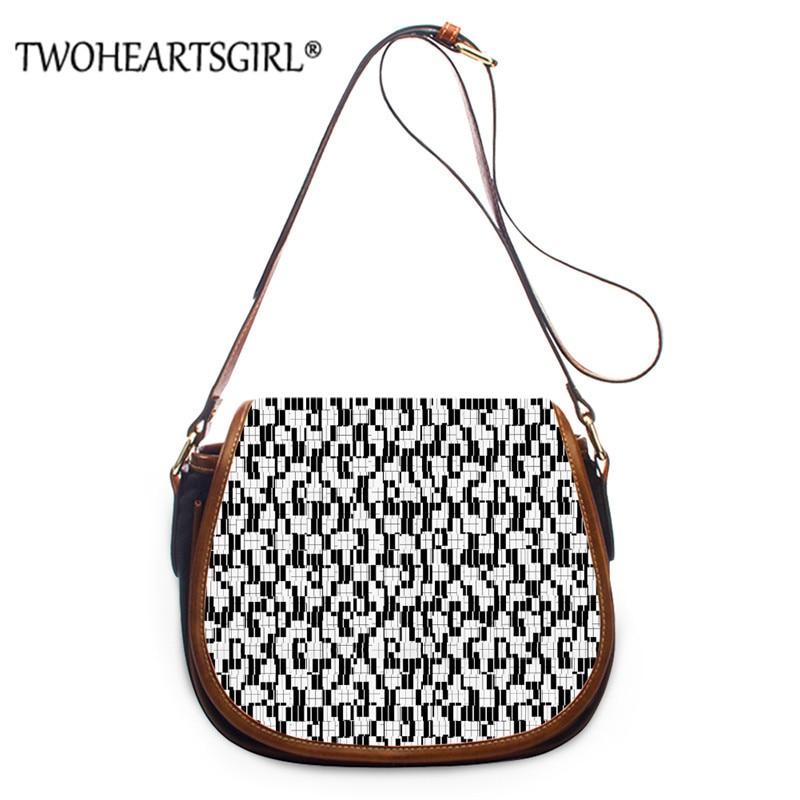 Twoheartsgirl Serialism/Zigzag Prints Women PU Saddle Bags Crossbody Bag Ladies Unique Shoulder Handbag Bags Bolsa Feminina