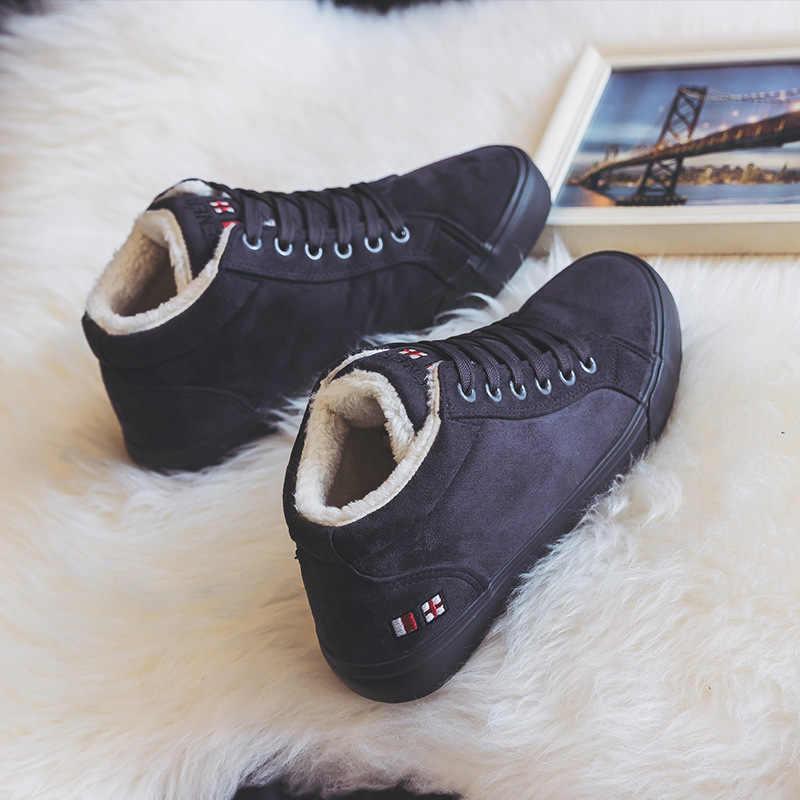 Ayakkabı Kış Kız pamuklu ayakkabılar Kürk Astar Düz Dipli Sıcak Süet rahat ayakkabılar Yüksek Uppers Kalınlaşmış Süet kanvas sneaker Peluş