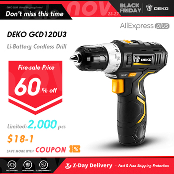 DEKO GCD12DU3 12V Electric Mini Cordless Drill Wireless DC Lithium-Ion Batter 2-Speed 1