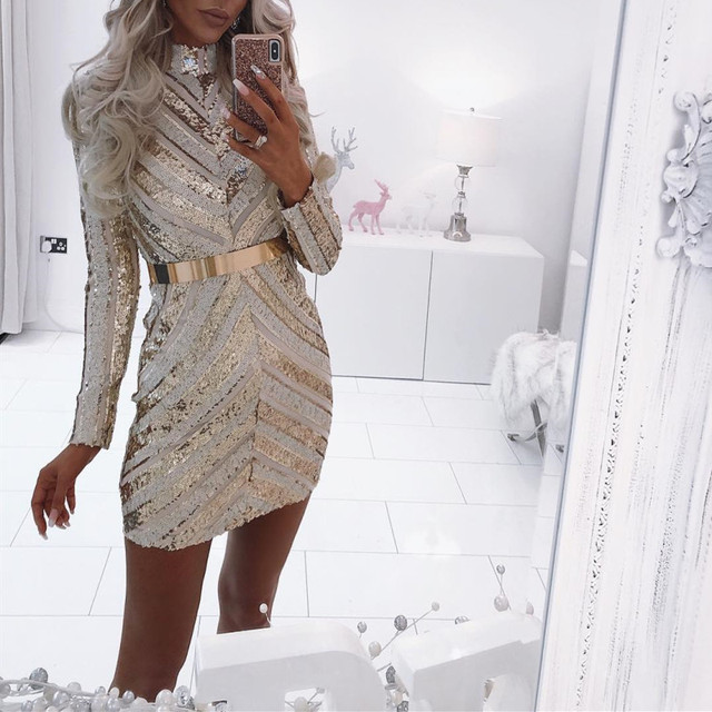 Gold Sliver Sequined Long Sleeves Straight High Neck Cocktail Dresses Party Gown Sexy Women Dress