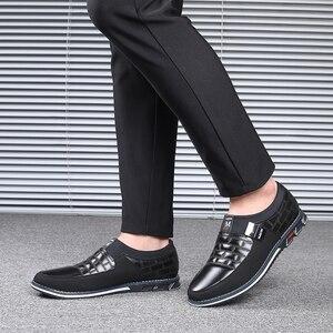 Image 5 - עור גברים נעליים יומיומיות 2019 מותג Mens ופרס מוקסינים לנשימה להחליק על שחור נהיגה נעלי גדול גודל