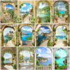 HUACAN DIY Pictures By Number Landscape Hand Painted Painting Kits Painting By Numbers Seascape Drawing On Canvas Home Decor