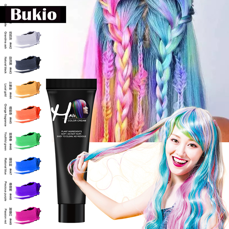 Bukio Punk StyleFashion Salon Hair Dye Dye Cream Silver Grey Blue Red Green Color Dye Products Hair Coloring Not Hurt Hair Fast