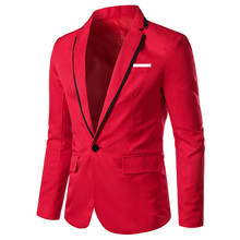 лучшая цена Suit jacket autumn new men's   single button blazer men's fashion business casual suit wedding groom single piece suit jacket