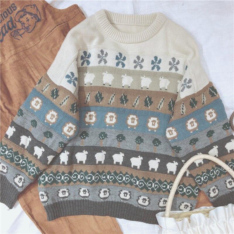 Harajuku Style Sweet Sweater Lolita Women Tops Retro Cartoon Knitted Mori Girl Student Autumn & Winter Cute Long Sleeve Pullover