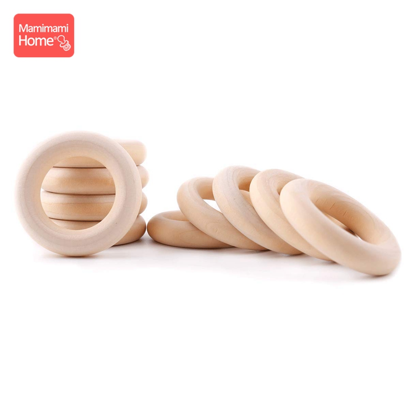 Mamihome 50pc Maple Wood Ring Smooth Surface Natural Wood Teething Children Kids DIY Wooden Making Necklace Crafts Accessories