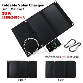 Hot Sales Sunpower 30W 5V Foldable Solar Panel Charger Solar Power Bank Dual USB Camouflage Backpack Camping Hiking for phone 3