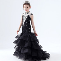 Model Show Catwalk Performance Fish Tail Dress Children Girls Elegant Black Color Evening Party Costumes Host Dress Clothing