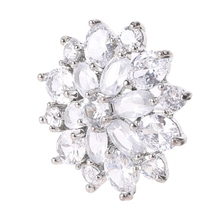 5Pcs 21mm Petals Flower Rhinestone Buttons with Metal Loop Crystal Alloy Embellishment for DIY Jewelry Wedding Accessory