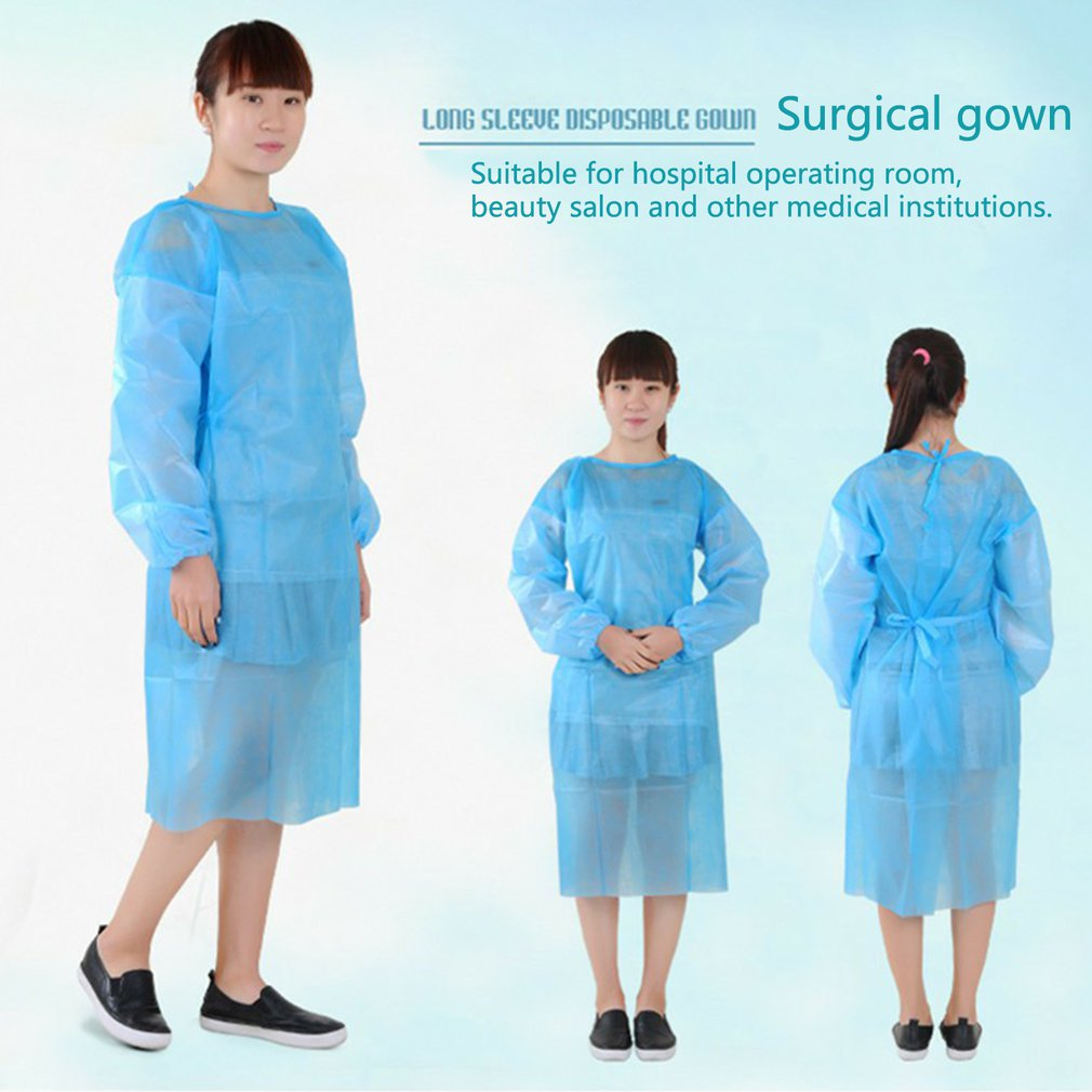 10 PCS Disposable Non Woven Surgical Gown Thin And Light Breathable  Clothes One-time Aprons Clothing Garment For Tattoo