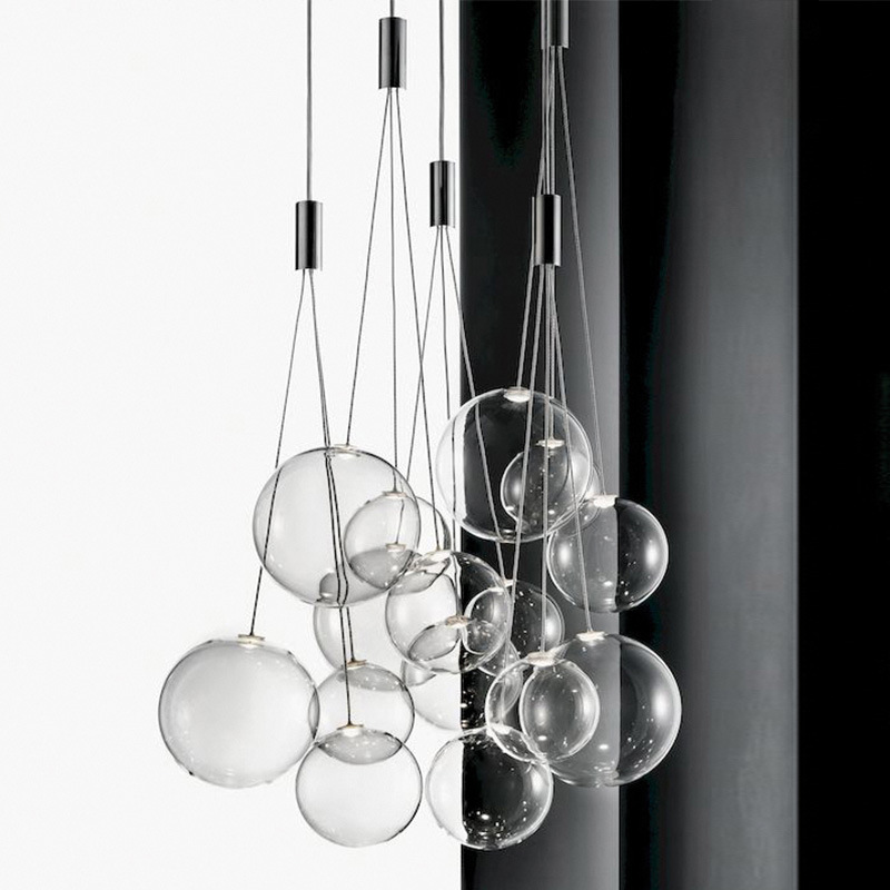 Nordic Restaurant Magic Beans Glass Living Room Pendant Lamp Staircase Creative Personality Glass Bubble Ball Led Pendant Lights