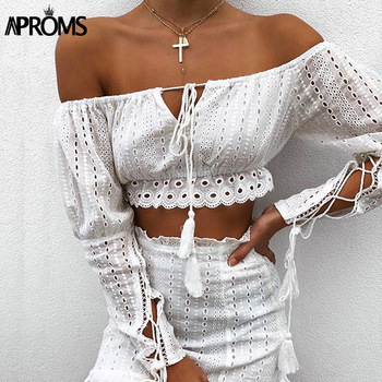 цена на Aproms Elegant Off Shoulder Long Sleeve Women Blouse Shirt Summer High Waist Lace Up Ladies Tops Streetwear White Crop Top 2020