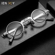 Ienjoy óculos de leitura luz azul bloqueio óculos dobrável ultra fino metal redondo armação óculos de leitura para homem