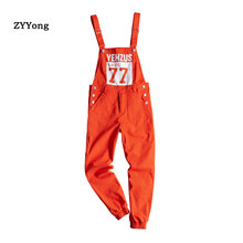 Print Letter Orange Loose Overalls Men Jumpsuit Bib Beam Feet Hip Hop Streetwear Rompers Cargo Pants Youth Casual Trousers