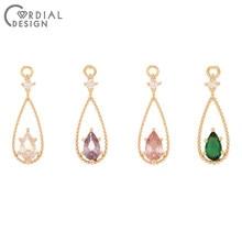 Design cordial 100 pces 6*18mm jóias acessórios/pingente/diy fazendo/conectores/forma gota/brinco achados/feitos à mão/cz encantos